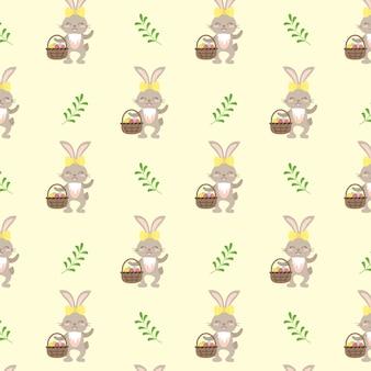 행복한 부활절. 토끼와 녹색 나뭇가지와 축제 장식 완벽 한 패턴입니다. 포장지, 인쇄용 요소. 벡터 평면 그림