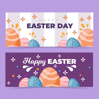 Happy easter flat design banner template