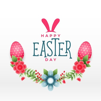 Happy easter flower decorative background