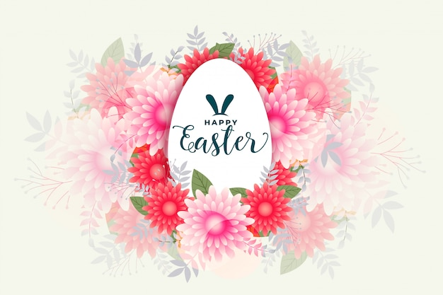 Happy easter flower style celebration card design