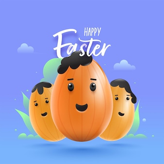 Happy easter font with cartoon eggs character on blue background.