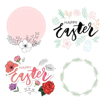 Happy easter frame with easter eggs