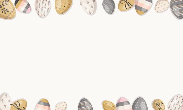웹 할인을 위한 계란이 있는 행복한 부활절 프레임은 엽서 봄 휴가 장식을 제공합니다.
