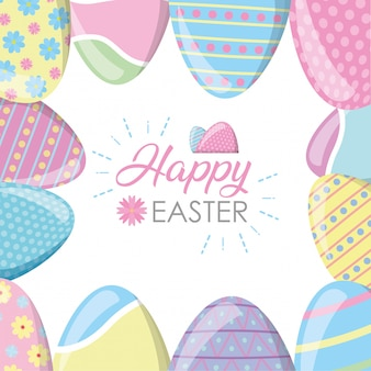 Happy easter frame with eggs greeting card