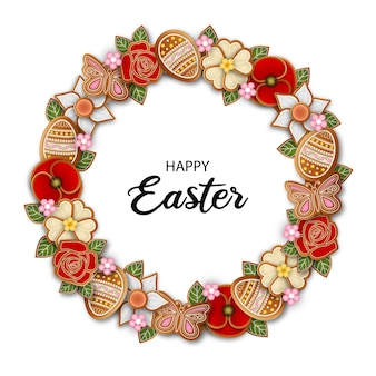 Happy easter frame with gingerbread cookies