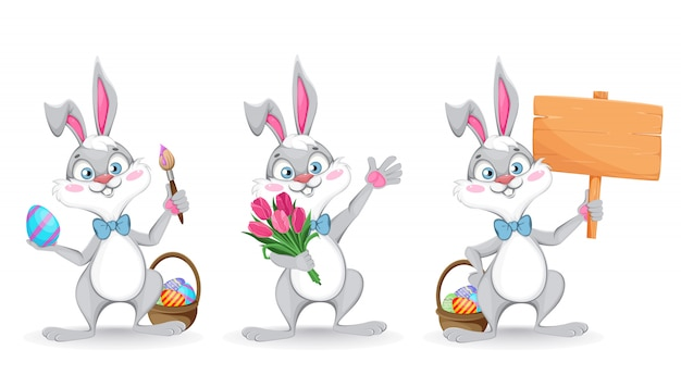 Happy easter. funny cartoon rabbit, set