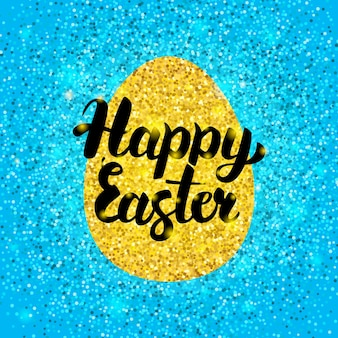Happy easter glitter design. vector illustration of spring holiday greeting postcard with calligraphy.