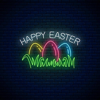 Happy easter glowing signboard with colored eggs on grass in neon style on dark brick wall background.