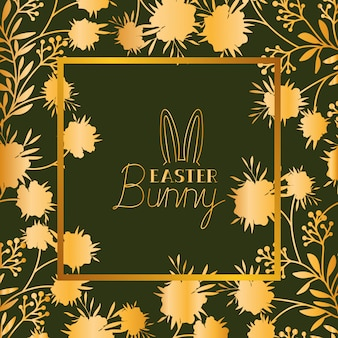 Happy easter golden frame with rabbit ears and leafs