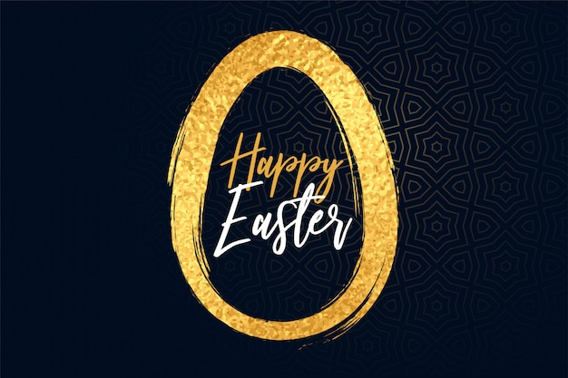 Happy easter golden textured egg background