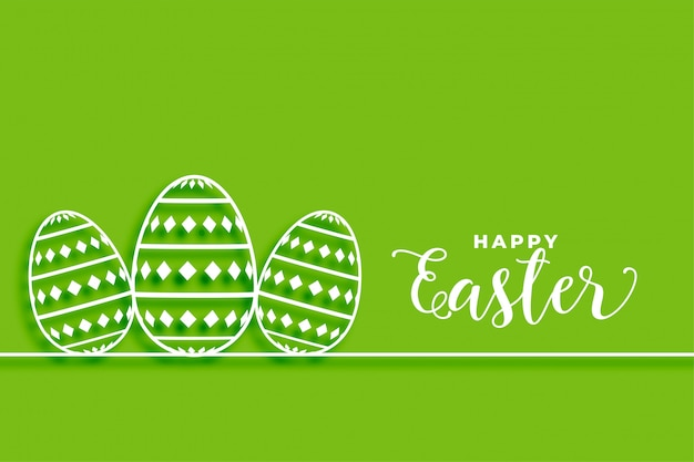 Happy easter green background wwith eggs design
