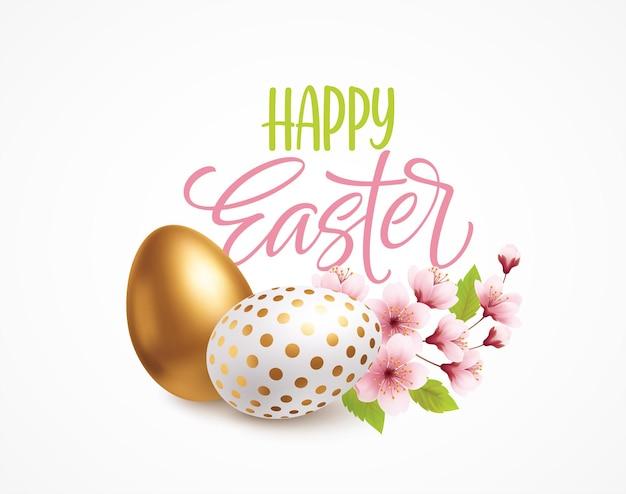 Счастливой пасхи приветствие фон с реалистичными пасхальными яйцами и весенними цветами. векторная иллюстрация eps10
