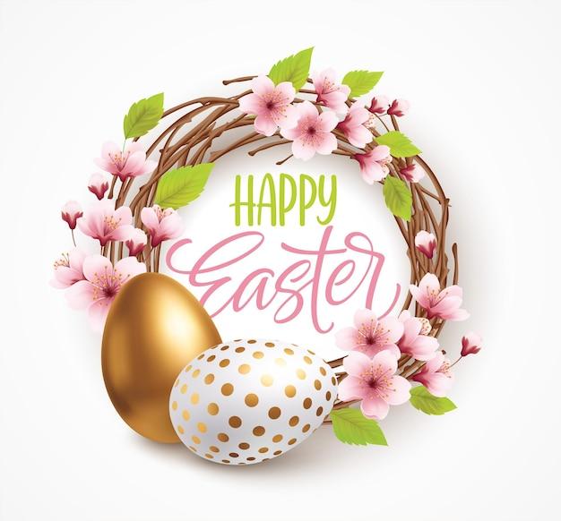 Счастливой пасхи приветствие фон с реалистичными пасхальными яйцами в венке с весенними цветами. векторная иллюстрация eps10