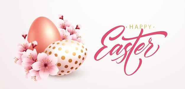 Happy easter greeting background with realistic easter eggs and spring flowers. vector illustration eps10