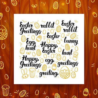 Happy easter greeting calligraphy. vector illustration of spring holiday lettering over wooden board.