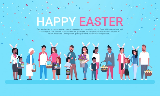 Happy easter greeting card banner with group of people celebrating holiday wear bunny ears and holding baskets