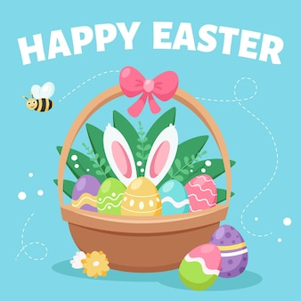 Happy easter greeting card. basket with easter eggs.