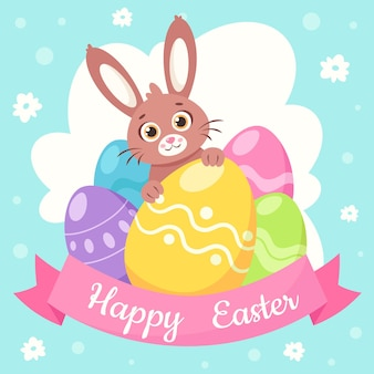 Happy easter greeting card. bunny with easter eggs.