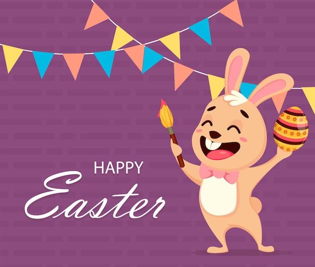 Поздравительная открытка счастливой пасхи. милый кролик мультипликационный персонаж