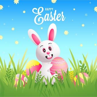 Счастливой пасхи дизайн поздравительной открытки, обои или сообщение в социальных сетях с милым кроликом.
