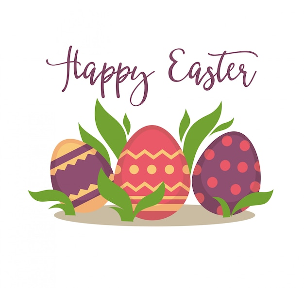 Happy easter greeting card design.