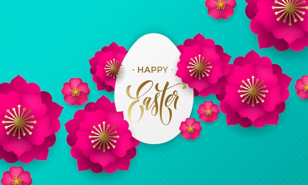 Happy easter greeting card of egg paper cut, spring flowers and gold text on floral pattern background for easter hunt holiday papercut design