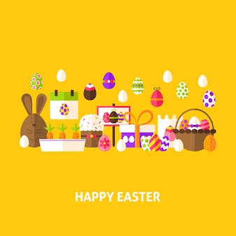 Happy easter greeting card. flat design vector illustration. spring holiday poster.