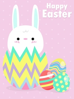 Happy easter greeting card. little rabbit bunny easter banner