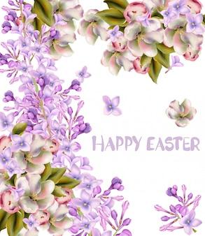 ハッピーイースターのグリーティングカード。春の花の水彩画