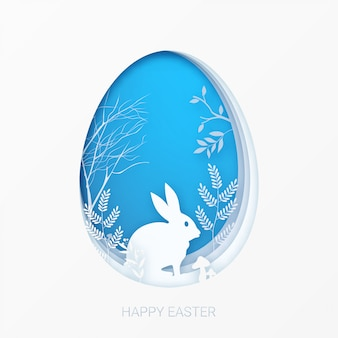 Happy easter greeting card template in 3d abstract paper cut art.