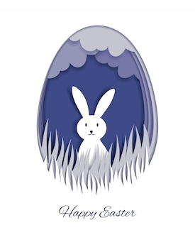 Happy easter greeting card template. 3d paper cut easter rabbit bunny holiday