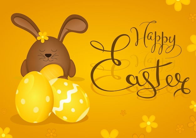 Happy easter greeting card with brown bunny on yellow background with calligraphic lettering