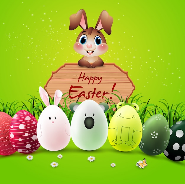 Happy easter greeting card with bunnies, colorful eggs, and a wooden sign