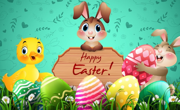 Happy easter greeting card with bunnies, duck, colorful eggs, and a wooden sign