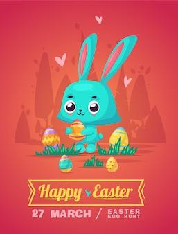 Счастливая пасхальная открытка с кроликом и яйцами. иллюстрации шаржа. симпатичные стильные персонажи.