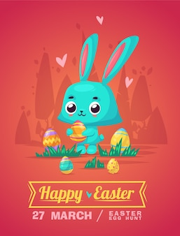 Happy easter greeting card with bunny and eggs.  cartoon illustration. cute stylish characters.