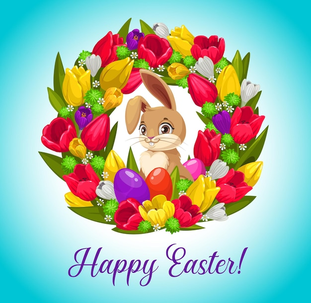 Happy easter greeting card with bunny inside of flower wreath with painted eggs