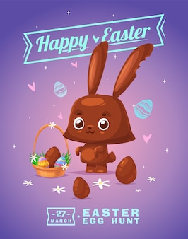 チョコレートバニーと卵とハッピーイースターグリーティングカード。ベクトル漫画イラスト。かわいいスタイリッシュなキャラクター。ベクトルストックイラスト。