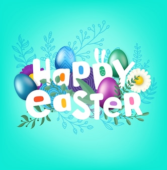 Happy easter greeting card with comic style inscription. vector layered illustration