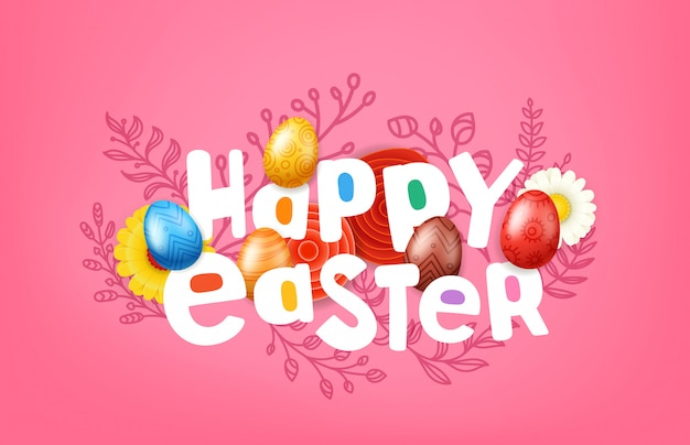Happy easter greeting card with comic style inscription.