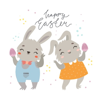 Happy easter greeting card with cute bunnies couple