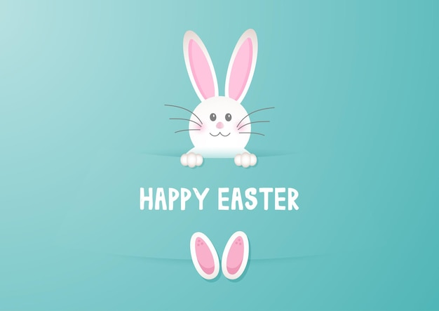 Happy easter greeting card with cute bunny design