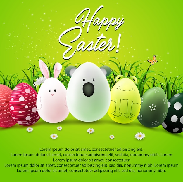 Happy easter greeting card with cute eggs characters