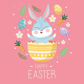 Happy easter greeting card with cute rabbit in egg painted
