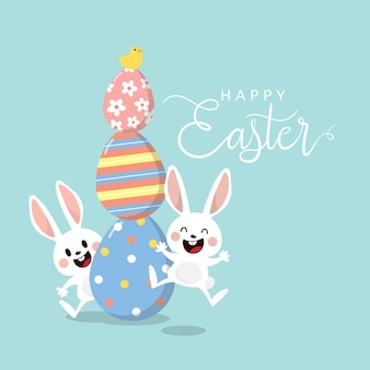 Happy easter greeting card with cute white bunny and eggs.