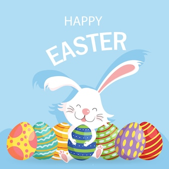 Happy easter greeting card with decorated eggs