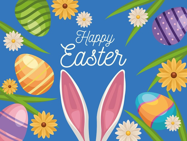 Happy easter greeting card with ears rabbit and eggs painted in garden