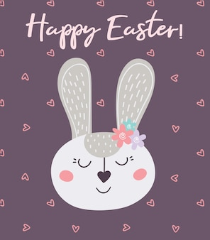 Happy easter. greeting card with easter bunny and hearts