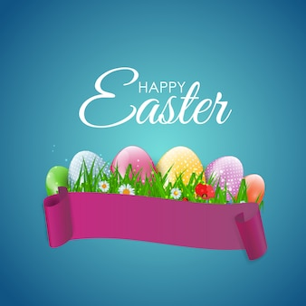 Happy easter greeting card with eggs, grass, flower