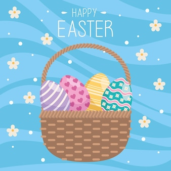 Happy easter greeting card with eggs painted in basket and flowers
